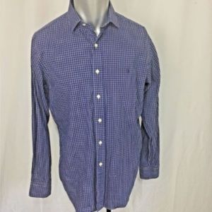 RALPH LAUREN MENS PLAID DARK BLUE Dress Shirt